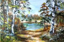 картина Пейзаж с берёзами